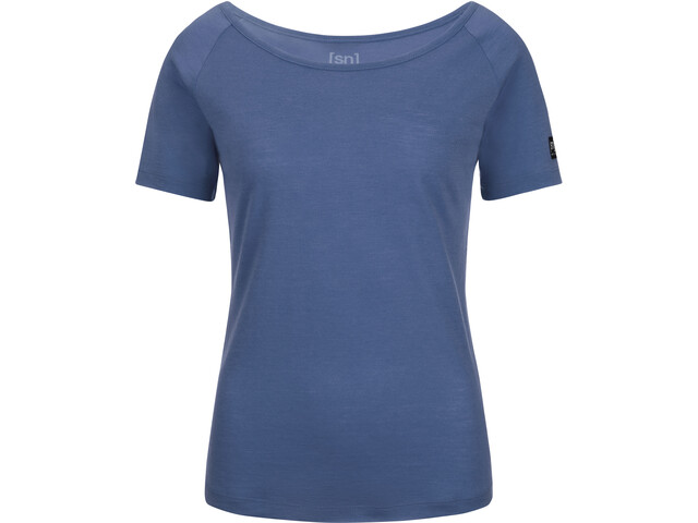 super.natural Essential Scoop Neck Tee 140 - Camiseta manga corta Mujer - azul